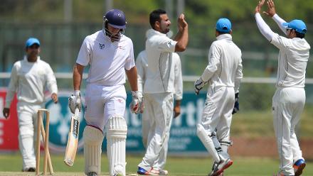 Afghanistan team celebrates ahead of dismissing Namibia batsman Nicolaas Scholtz