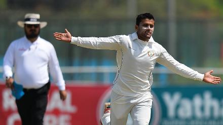 Afghanistan bowler Zahir Khan celebrates after dismissing JP Kotze