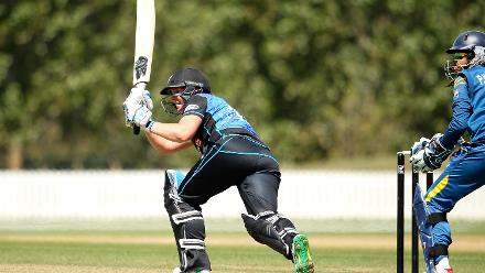 Rachel Priest bats at the Bert Sutcliffe Oval