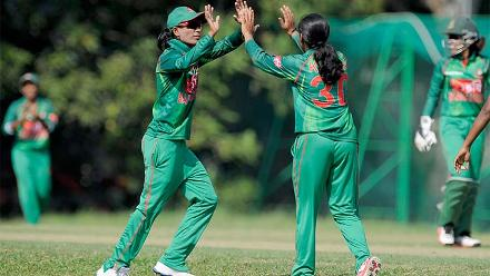 Salma Khatun celebrating a wicket during the warm-up match between Ireland Women and Bangladesh Women