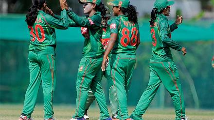 Bangladesh Women celebrating the fall of a wicket during their warm-up match against Ireland Women