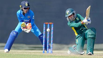 Trisha Chetty batting during the warm-up match between South Africa Women and India Women