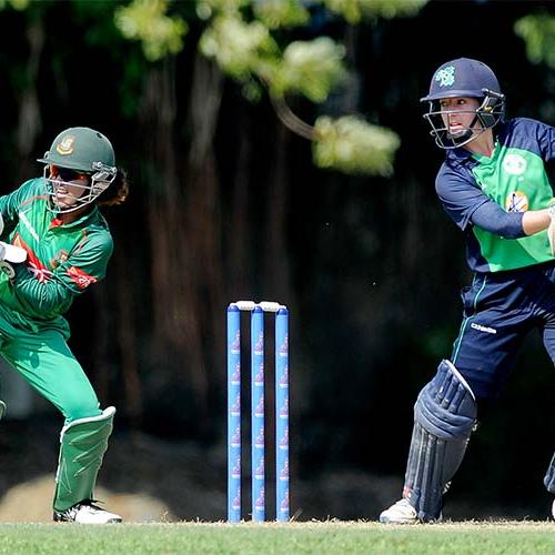 Cecelia Joyce bats during the warm-up match between Ireland Women and Bangladesh Women