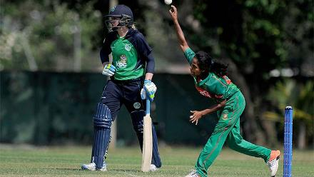 Ritu Moni bowling against Ireland Women