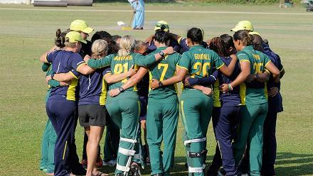 South Africa Women in a huddle before their warm-up match against India Women