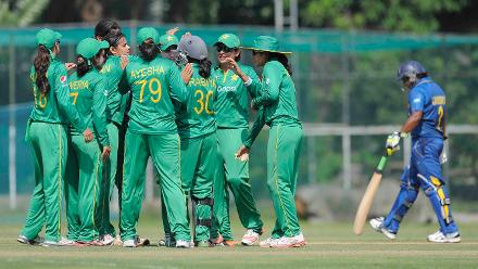 Pakistan Women celebrate the fall of a Sri Lankan wicket during their warm-up match