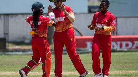 Zimbabwe Women celebrate a wicket