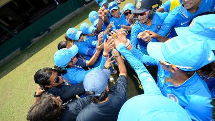 Indian Women's team huddle
