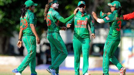 Jahanara Alam celebrates Sibona Jimmys wicket