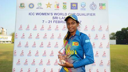 Priyadarshani Fernando picked up the Man of the Match Award for her figures of  three for 21 against Ireland in their Group A game of the ICC Women's World Cup Qualifiers 2017.
