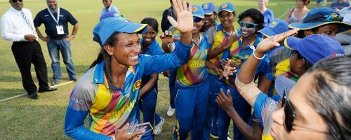 Priyadarshani Fernando with her teammates after picking up the Man of the Match award against Ireland in a Group A game of the ICC Women's World Cup Qualifiers 2017.