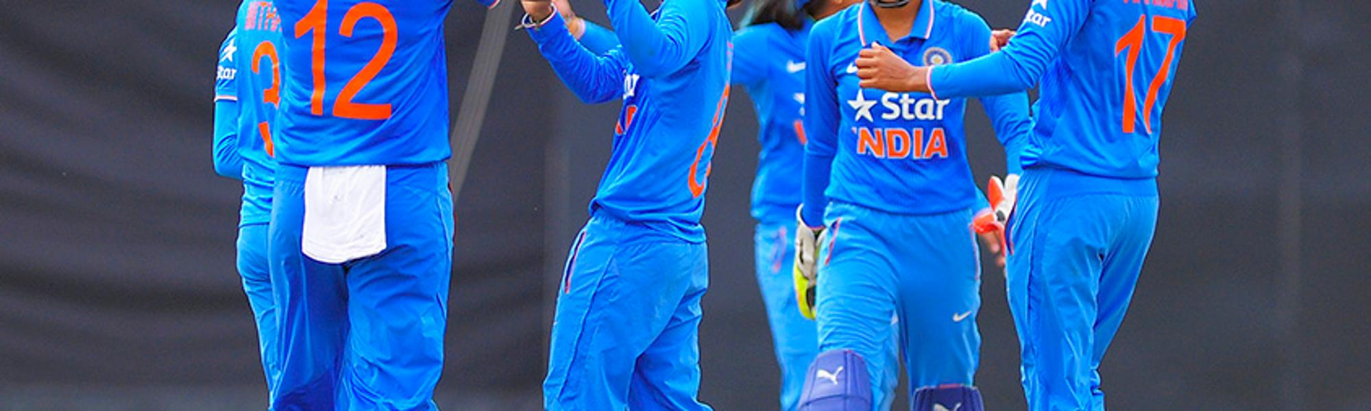 Ekta Bisht celebrates a wicket with the Indian team