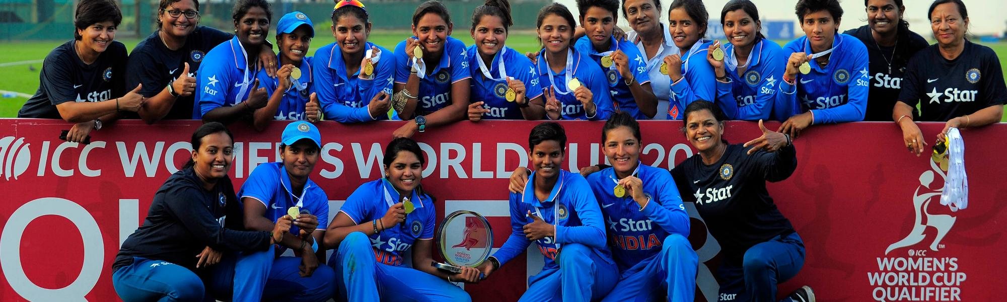 India Women with the trophy after winning the Women's World Cup Qualifier against South Africa.