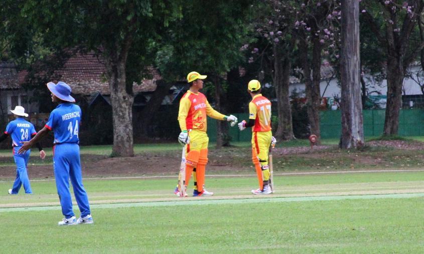 Bhutan and Thailand during their warm-up match prior to the ICC WCL Qualifier - Asia