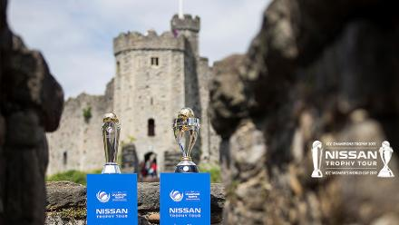 ICC Champions Trophy and ICC Women's World Cup Trophy in Cardiff