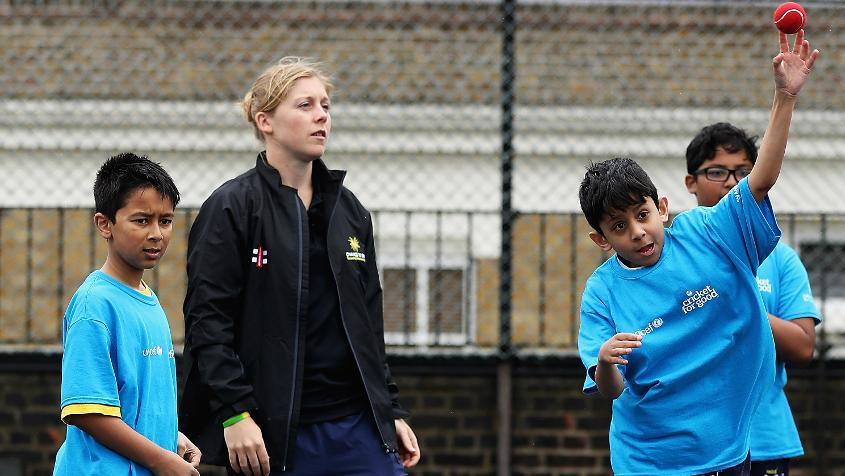 Heather Knight visited Hague Primary School in East London to inspire young girls and boys ahead of the ICC Champions Trophy and ICC Women's World Cup.