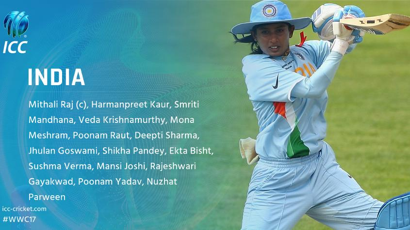 India captain Mithali Raj leads her side in a second successive World Cup.