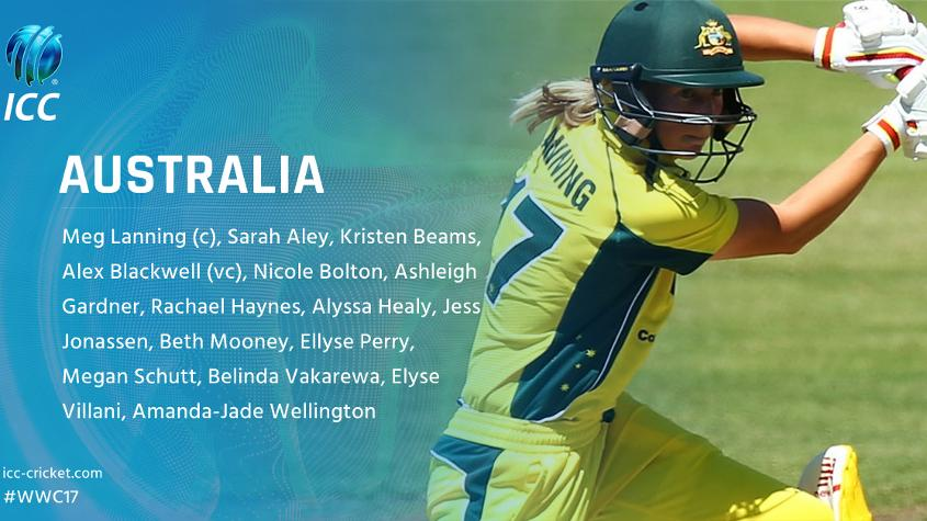 Australia is the top-ranked side in the MRF Tyres ICC Women's Team Rankings.