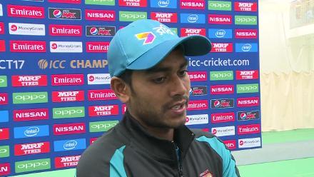 Mehedi Hasan speaks in the mixed zone