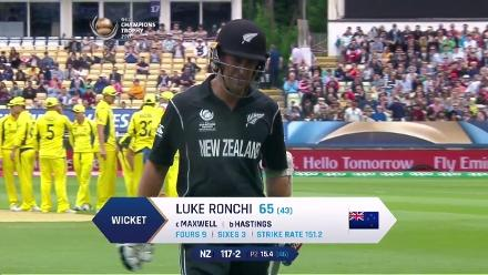 WICKET: Luke Ronchi falls to John Hastings for 65