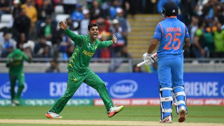 Shadab Khan provided the first breakthrough for Pakistan with the dismissal of Shikhar Dhawan