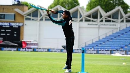 Soumya Sarkar of Bangladesh plays a game of cricket during the ICC Champions Trophy Cricket for Good clinic at  Cardiff, Wales.