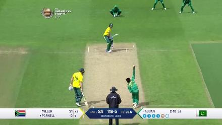 WICKET: Hassan Ali sends back Duminy, Parnell in the same over