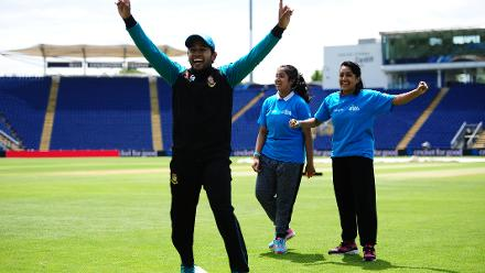 Mushfiqur Rahim of Bangladesh plays a game of cricket with young school kids during the ICC Champions Trophy Cricket for Good clinic at  Cardiff, Wales.