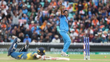 In an athletic effort in his follow through, Bhuvneshwar Kumar had Kusal Mendis run out for 89 from 93 balls.