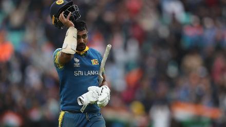 Danushka Gunathilaka was run out for 76 off 72 balls.