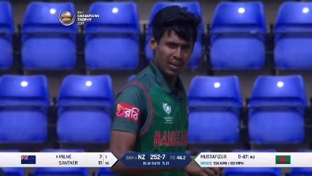 WICKET: Adam Milne is dismissed by Mustafizur Rahman for 7