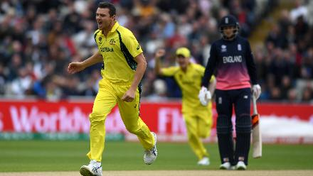 Josh Hazlewood struck twice early to push England in bit of a spot at 35 for 3 at the end of 6 overs.
