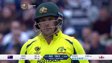 WICKET: Aaron Finch is dismissed by Ben Stokes for 68