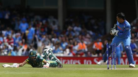 Imran Tahir was run out by MS Dhoni and was the last one to fall as South Africa posted a total of 191.