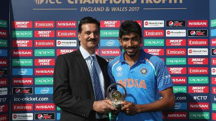 Jasprit Bumrah was presented with Man of the Match award. He returned with figures of 2 for 28 in 8 overs.