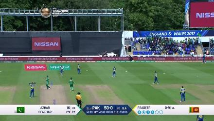 WICKET: Fakhar Zaman is dismissed by Nuwan Pradeep for 50
