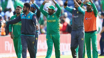 The Pakistan team do a lap of honour of the ground to thank their supporters who came out in huge numbers