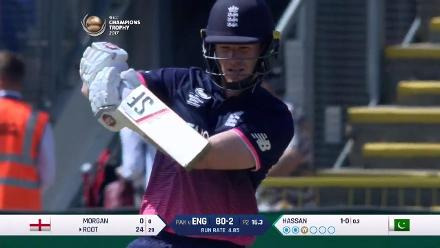 WICKET: Eoin Morgan is dismissed by Hassan Ali for 33