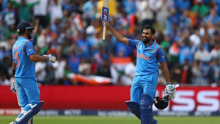Rohit Sharma slammed his eleventh century, scoring an unbeaten 123 in 129 deliveries studded with 15 fours and a six.