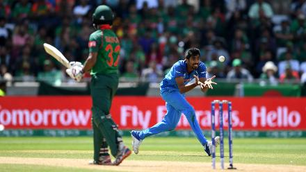 Jasprit Bumrah was the pick of the Indian bowlers picking up 2 for 39 in his ten overs.