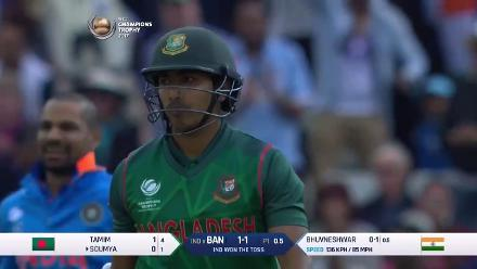 WICKET: Soumya Sarkar is dismissed by Bhuvneshwar Kumar for a duck