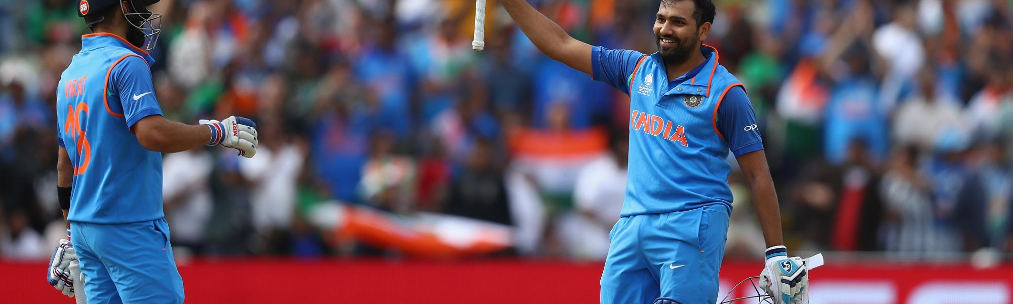 A match-winning century by Rohit Sharma saw India home and through to the finals of the Champions Trophy 2017