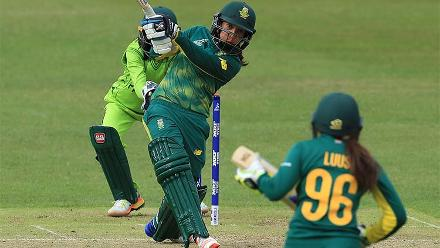 Shabnim Ismail plays a shot during her match winning knock