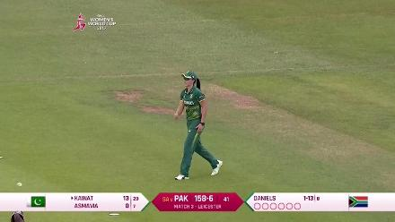 WICKET: Kainat Imtiaz falls to Moseline Daniels for 13