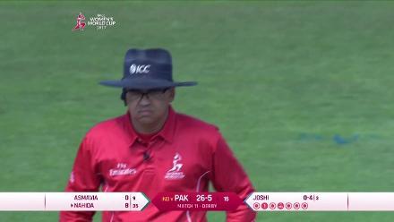 WICKET: Asmavia Iqbal falls to Mansi Joshi for 0