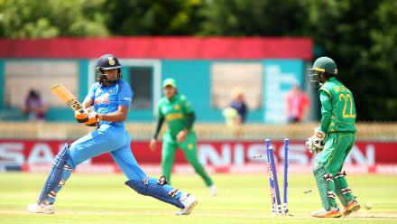 Jhulan Goswami of India is bowled by Nashra Sandhu of Pakistan during the ICC Women's World Cup match between India and Pakistan