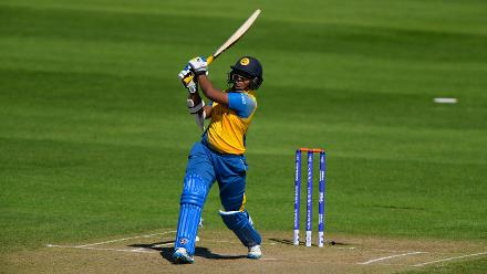 Hasina Perera hits out during the ICC Women's World Cup 2017 match between England and Sri Lanka.