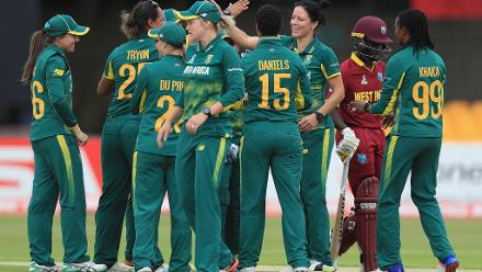 Marizanne Kapp is congratulated on the wicket of Kyshona Knight.