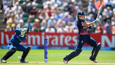 Lauren Winfield cuts a ball to the boundary during the ICC Women's World Cup 2017 match between England and Sri Lanka.