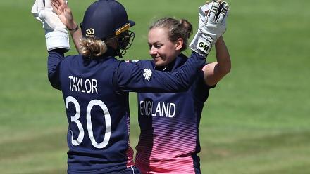 Laura Marsh and Sarah Taylor of England celebrate the wicket of Harshitha Madhavi of Sri Lanka